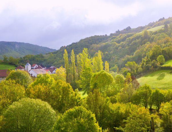 Aribe on Azcoa Aezcoa Valley of Pyrenees in Navarra Spain